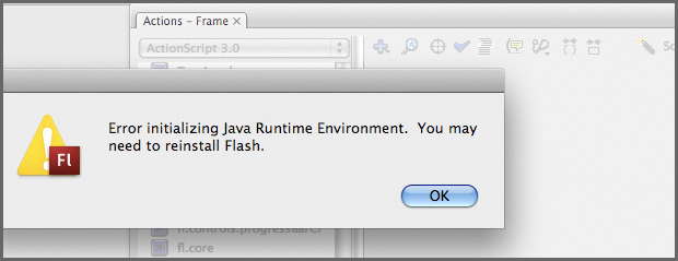 Flash ActionScript 3.0 Java Runtime Environment Error